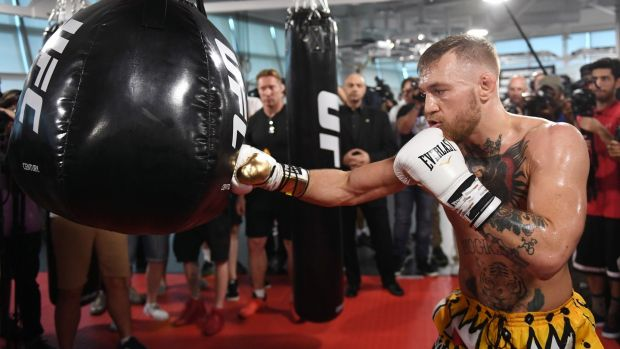 Conor McGregor completed 12 rounds in front of the media. Photograph: Ethan Miller/Getty Images