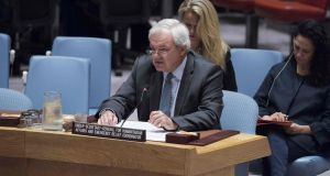 Stephen O'Brien, outgoing under-secretary general for humanitarian affairs and emergency relief co-ordinator, briefs the UN Security Council on the humanitarian situation in Yemen on August 18th. Photograph: Kim Haughton/AFP/Getty Images