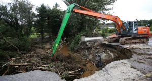 A collapsed road at Quigley's Point in Co Donegal after thunderstorms. Photograph: Niall Carson/PA