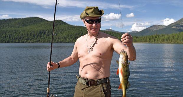 Russian President Vladimir Putin fishes in the remote Tuva region in  southern Siberia. The picture