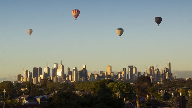 Hot air balloons over Melbourne. Photograph: iStock