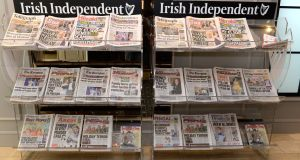 INM papers on display at the  INM AGM in Dublin. Photograph: Dara Mac Dónaill