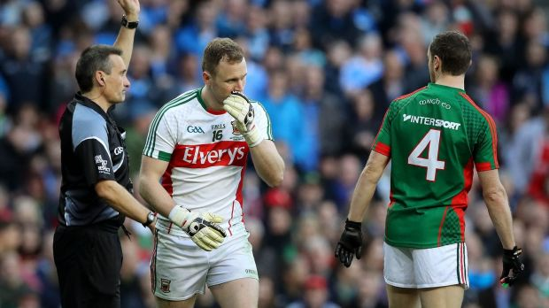 Mayo goalkeeper Robert Hennelly is black-carded by referee Maurice Deegan during last year's All-Ireland final replay against Dublin. Photograph: Ryan Byrne/Inpho