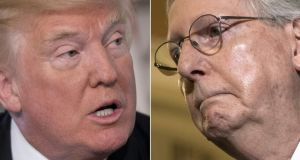 US president Donald  Trump (left) has again attacked Mitch McConnell (right), the Senate majority leader whom he blames for the Republican party's failure to pass healthcare reform. Photograph:  Jim Watson and Brendan Smialowski/AFP/Getty Images