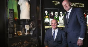 Former Offaly footballer Matt Connor with ex-Kerry star  Jack O'Shea at the inductees event at the GAA Museum Hall of Fame in Croke Park. Photograph: Matt Browne/Sportsfile