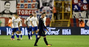 Everton's Wayne Rooney leaves the field at half time during the Europa League clash against Hajduk Split. Photo: AP