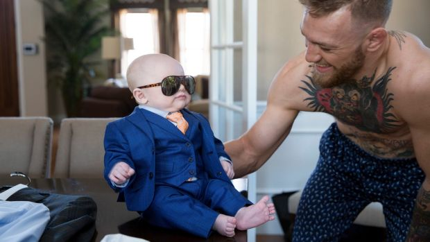 McGregor with his son Conor Jack McGregor during a suit fitting with David August Heil in Vegas. Photo: Emily WIlson/The New York Times