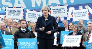 British prime minister Theresa May campaigning in Eshott airfield, Northumberland, in May. She has repeatedly rejected the idea of excluding students from the Conservatives' target of bringing net migration down to the tens of thousands. Photograph:  Stefan Rousseau/PA Wire