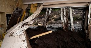 Bedroom of damaged home  in Urris, Co Donegal after landslide. Photograph: Clodagh Kilcoyne/Reuters