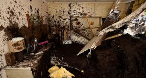 Bedroom destroyed in a home in Urris, Co Donegal after a landslide during heavy rainfalls. Photograph: Clodagh Kilcoyne/Reuters