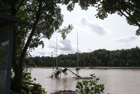 A flooded rugby pitch in Drumahoe, Derry, after heavy rain left a trail of destruction. Photograph: Niall Carson/PA Wire