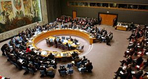 United Nations Security Council meeting at its headquarters in New York: Away from winding corridors, the real election deals will be struck  in expensive restaurants and in theatres and bars around the world.