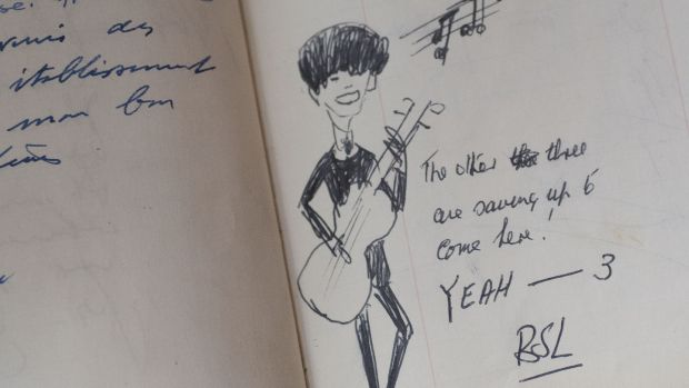 John Lennon's entry in the guest book from Jammet's restaurant. Photograph: Dave Meehan