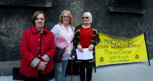 Pictured outside the former Magdalene laundry on Sean McDermott Street are, from left Mary Merritt, Angela Merrigan (on behalf of her mother Mary) and Lindsay Rehn. Photograph: Cyril Byrne