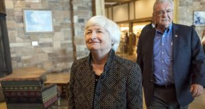 "Fed chairwoman  Janet Yellen at Jackson Hole. She said  reforms have made the system ""substantially safer"""