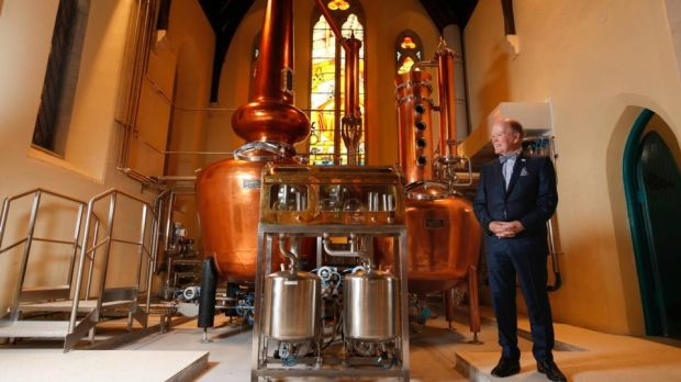 Dr Pearse Lyons at his new Pearse Irish Whiskeys distillery on James's Street in Dublin, which is open for tours of its premises in the old St James's Church
