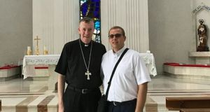 Bishop Denis Nulty with Fr Eugen Dragos in Romania. On his arrival in Ireland, Fr Eugen Dragos will spend time in Carlow, becoming acquainted with Irish life before appointment as curate to the Tinryland parish