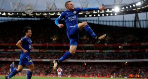 Jamie Vardy: celebrates one of his two goals against Arsenal at the Emirates. Photograph: Paul Childs/Reuters