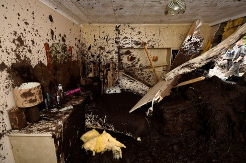 DONEGAL LANDSLIDE: Bernie Kearney's bedroom in her badly damaged home after a landslide carrying a boulder and her car crashed through the house amid torrential rains in Urris, Co Donegal. Photograph: Clodagh Kilcoyne/Reuters