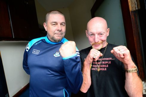 FIGHT NIGHT: Donal Ward and Mathew Sherry box clever at The Old County Bar, Crumlin – the homeplace of Conor McGregor – ahead of the Irishman's big ticket fight against Floyd Mayweather in Las Vegas on Saturday night. Photograph: Cyril Byrne/The Irish Times