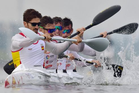 CANOE SPRINT: Javier Hernanz, Javier Cabanin Barturen, Oscar Carrera and Rubben Millan of Spain compete in a preliminary heat of the Men's K4 1000m race at the ICF Canoe Sprint World Championships in Racice, Czech Republic. Photograph: Martin Divisek/EPA