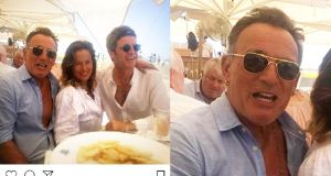 Jade Jagger's Instagram post, along with Bruce Springsteen and Noel Gallagher. But is that other diner a chilled-out Denis O'Brien?