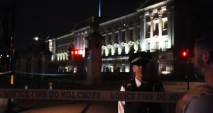 A police cordon outside Buckingham Palace in London. Two officers received minor injuries. Photograph: Lauren Hurley/PA Wire