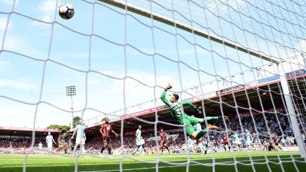 Bournemouth's Charlie Daniels scores their first goal. Photograph: Dylan Martinez/Reuters