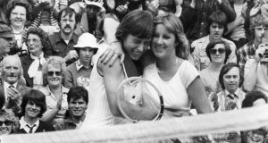 Martina Navratilova gets a hug from Chris Evert  after beating her in the final of the ladies' singles at Wimbledon in 1978. Photograph: Rob Taggart/Central Press/Getty Images