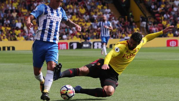 Miguel Britos was shown a straight red for his challenge on Brighton's Anthony Knockaert. Eddie Keogh/Reuters
