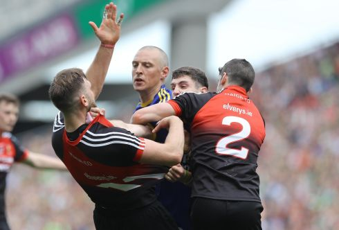 Mayo 2-16 Kerry 0-17:  Aidan O'Shea and Kieran Donaghy clashed after the incident. Photograph: Lorraine O'Sullivan/Inpho