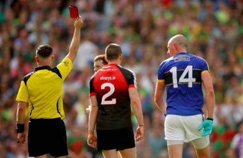 Mayo 2-16 Kerry 0-17: Kieran Donaghy is red carded by referee David Gough. Photograph: James Crombie/Inpho