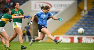 Noelle Healy scores  Dublin's fourth goal in the  the TG4 Ladies' Football All-Ireland  semi-final match against Kerry at Semple Stadium. Photograph:  Matt Browne/Sportsfile