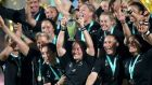 New Zealand celebrate winning the 2017 Women's Rugby World Cup Finalafter beating England at  the Kingspan Stadium in Belfast. Photograph:  Brian Lawless/PA Wire