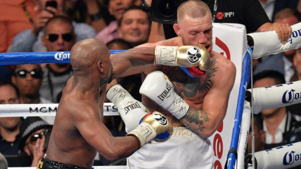 Mayweather lands a punch in the 10th round which led to the stoppage. Photo: Lionel Hahn/PA Wire