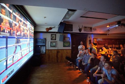 View of Conor McGregor fans as they watch the live coverage of the Conor McGregor V Floyd Mayweather boxing match from Las Vegas in a Dublin city pub. Pic  Tom Honan.