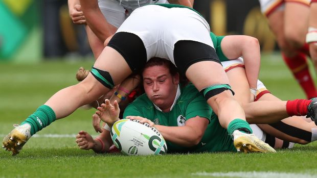 Ireland's Ciara O'Connor in action in the Women's Rugby World Cup seventh-place playoff at Kingspan Stadium on Saturday. Photograph: Billy Stickland/Inpho