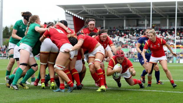Carys Phillips gets over to score a try for Wales in the Women's Rugby World Cup seventh-place playoff at Kingspan Stadium on Saturday. Photograph: Dan Sheridan/Inpho