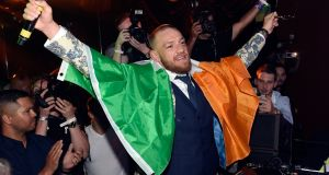 Conor McGregor attends his after-fight party in Las Vegas after losing his moneyspinning fight with Floyd Mayweather after 10 rounds. Photograph: David Becker/Getty Images