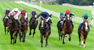 Rain Goddess ridden by Ryan Moore (centre) wins the Snow Fairy Stakes during Tipperary Crystal Race Day at Curragh Racecourse on Sunday. Photograph: PA Wire