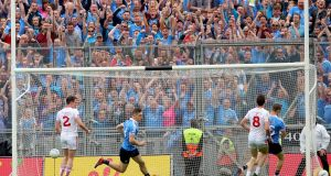Con O'Callaghan scores Dublin's  opening goal in the All-Ireland SFC semi-final against Tyrone at Croke Park. Photograph:  James Crombie/Inpho
