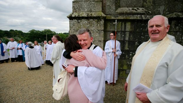 Trevor Sargent embraced by his wife Aine Neville after the ceremony at Shillelagh Parish Church, Shillelagh, County Wicklow. Photograph Nick Bradshaw