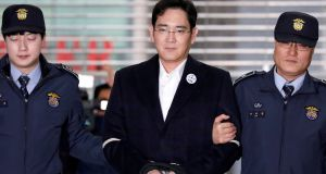 Samsung group chief Jay Y Lee  arriving at the office of the independent counsel team in Seoul, South Korea, in February. Photograph: Kim Hong-Ji/Reuters