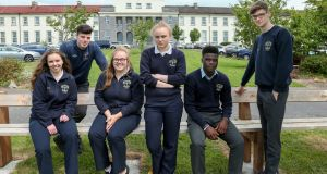 Leaving cert diary: Coláiste Éinde Galway Leaving Certificate students, from left:  Muireann O'Reilly, Evan Murphy, Ciara Kilbane, Lauren Conway, Osas Aghabueze-Ayo and Tom Crumlish. Photograph: Joe O'Shaughnessy
