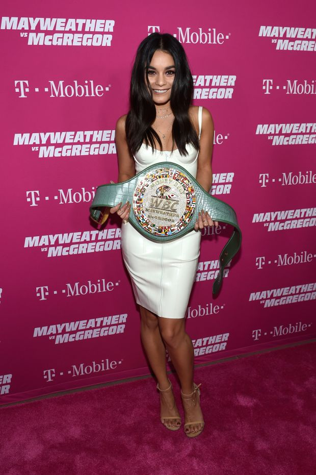 Actress Vanessa Hudgens with the 'Money Belt' for which the pair were competing. Photo: Getty Images