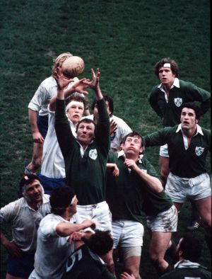 1981:  Willie Duggan wins a lineout for Ireland against France, with Moss Keane, John O'Driscoll and Fergus Slattery in support. Photograph: Inpho/Billy Stickland