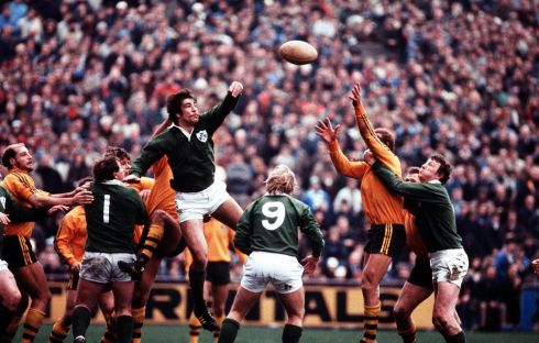 1981 World Cup: Donal Lenihan of Ireland wins a lineout. Other Irish players are Phil Orr, Robbie McGrath, and Willie Duggan. Photograph: Inpho/Billy Stickland