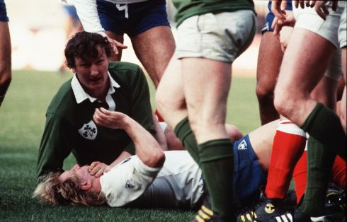 1984: Five Nations v France  Willie Duggan and Jean-Pierre Rives of France. Photograph: Inpho/Billy Stickland