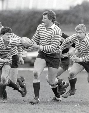 February 1985: Willie Duggan leads the charge for Blackrock against Old Belvedere. Photograph: Billy Stickland/Inpho