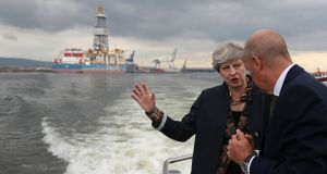 Cast adrift: British prime minister Theresa May with the chief operating officer of PD Ports, Jerry Hopkinson,   during a visit to Teesside on August 23rd.  Photograph: Scott Heppell/PA Wire